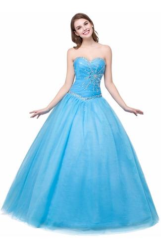 vestido xv años color azul verde coral envío gratis princess