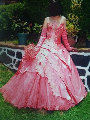 vestido xv años color coral
