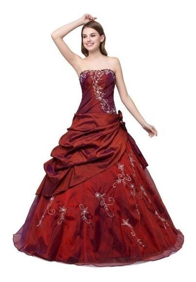 Vestido Xv Años Color Vino Con Anillo Plata 925 Regalo