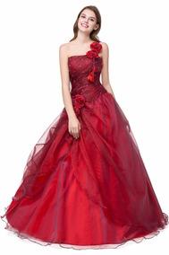 5d57fa46c Vestido Xv Años Color Vino Envio Gratis Cheap One Shoulder