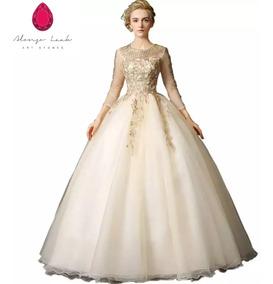 Vestido Xv Años Dorado Envió Gratis Q 180122001