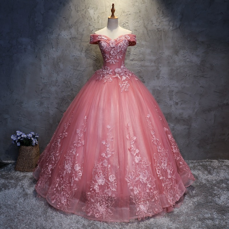 Vestido Xv Anos Hombro Descubierto Bordado Flores 5 820 00 En