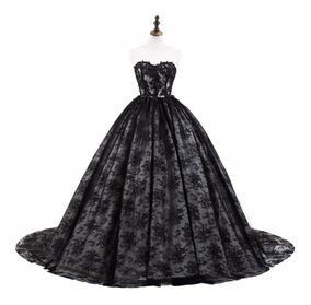 Vestido Xv Años Negro Encaje Envio Gratis E 32618