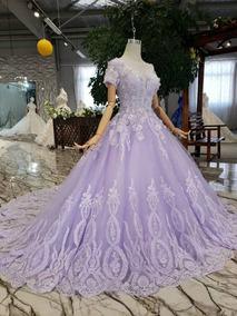 Vestido De Xv Anos Coral Con Manga Vestidos Largo Lila En