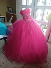 Vestido Xv Años Rosa Fiusha Talla 10