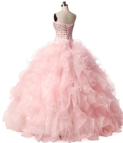 vestido xv años, sutil, volantes princesa, bellísimo