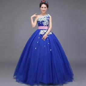 Vestido Xv Años Un Hombro Azul Rey Envio Gratis