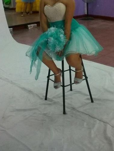vestido xv años unitalla azul