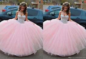 Vestido Xv Rosa Pastel Con Pedrería Con Tutu