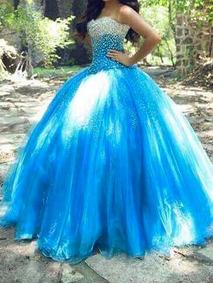Vestido De Xv Azul Turquesa Con Caida Blanca 2300 Ropa