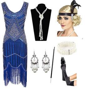 Vestido Y Accesorios Fiesta Gatsby 1920s Color Azul Esrtyer