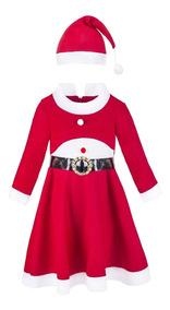 Vestido Y Gorro Para Niñas Navideño De Santa Claus Lilax