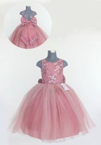 Vestido Yalila Para Niña Talla 8 Palo De Rosa Y Tinto