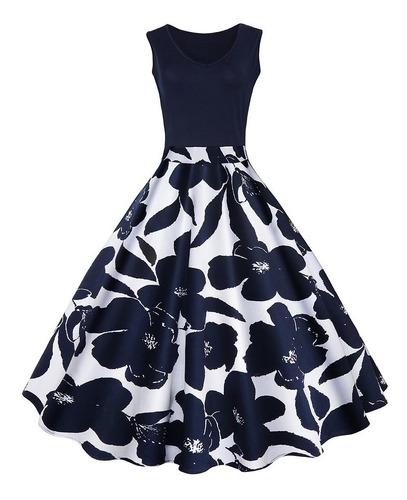 vestido zaful c/diseño floral, sensual, cuello v, sin mangas