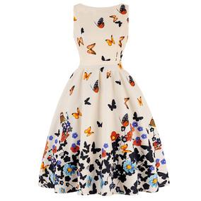 Vestido Zaful Estilo Vintage Smangas Estampado De Mariposas