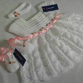 Vestido Zapatos Cintillo Para Bebe Tejido