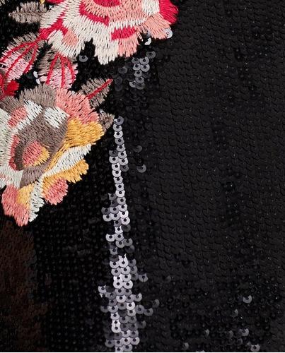 vestido zara brillo bordado flores