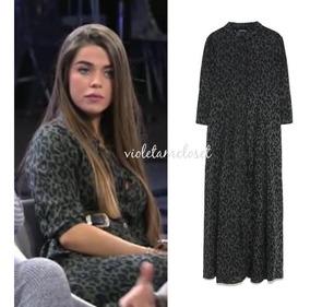 mayor selección auténtica venta caliente proveedor oficial Vestido Zara Camisero Leopardo Verde
