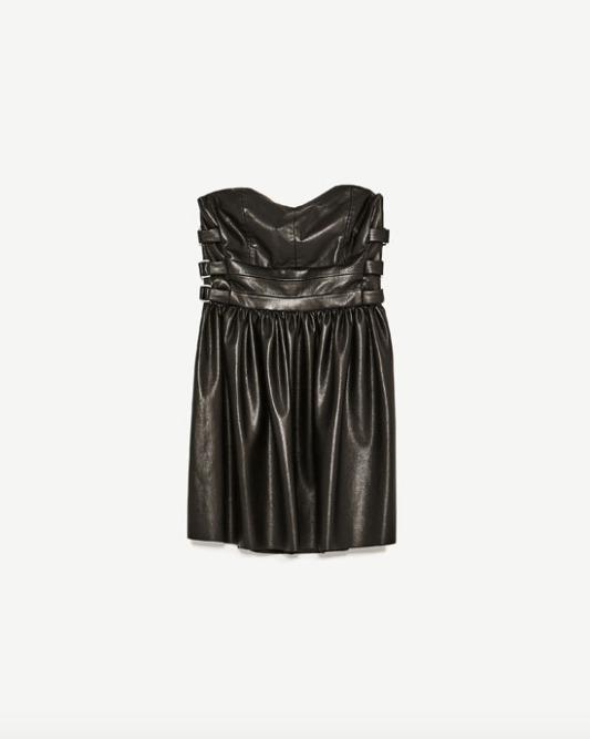 Vestido Zara Cocktail Tipo Cuero Negro Nuevo Con Etiqueta S