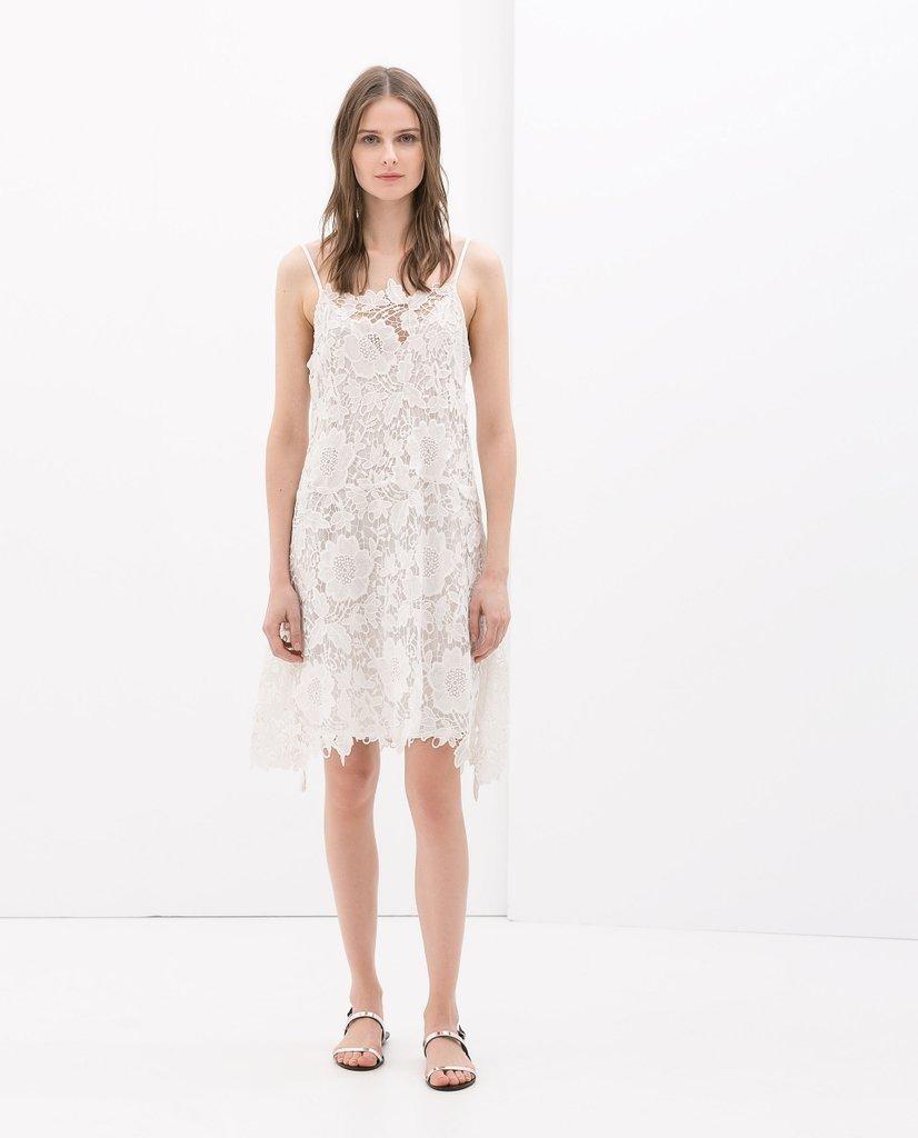 buena calidad venta al por mayor bastante baratas Vestido Zara Crochet L Tirantes Blanco Bazarqro #495 - $ 495.00