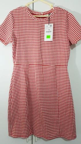 vestido zara cuadros rojos