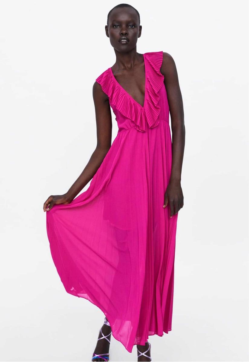 buena calidad comprar real grandes ofertas Vestido Zara De Fiesta Plisado