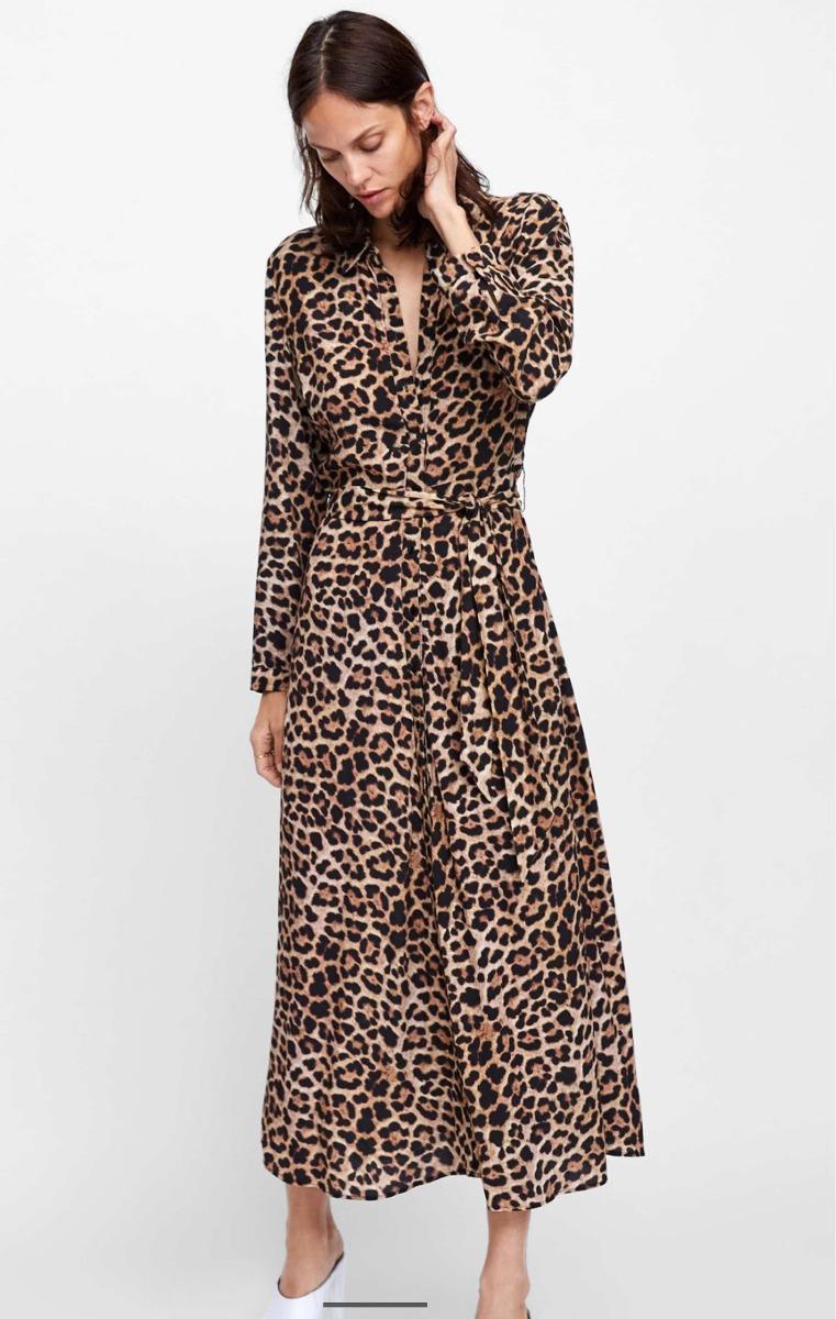 5fe74c9c9b vestido zara longo chemise shirt dress animal print onça g l. Carregando  zoom.