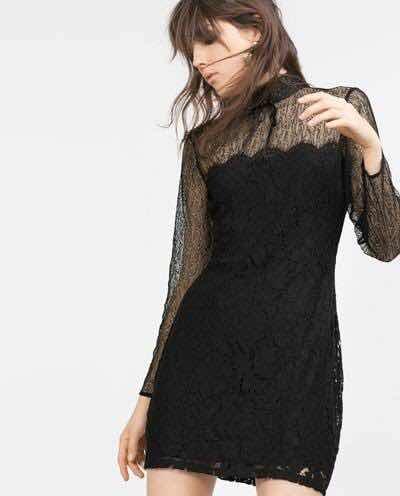 Encaje Negro Vestido Zara Zara De Negro Vestido ppfz6Yq