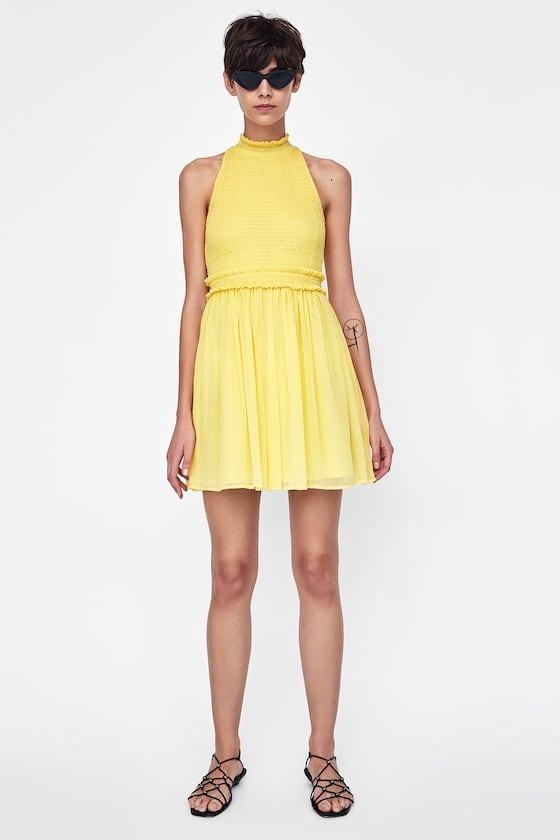 disfruta del precio de descuento tecnicas modernas nueva llegada Vestido Zara, Sin Mangas, De Gasa Amarillo