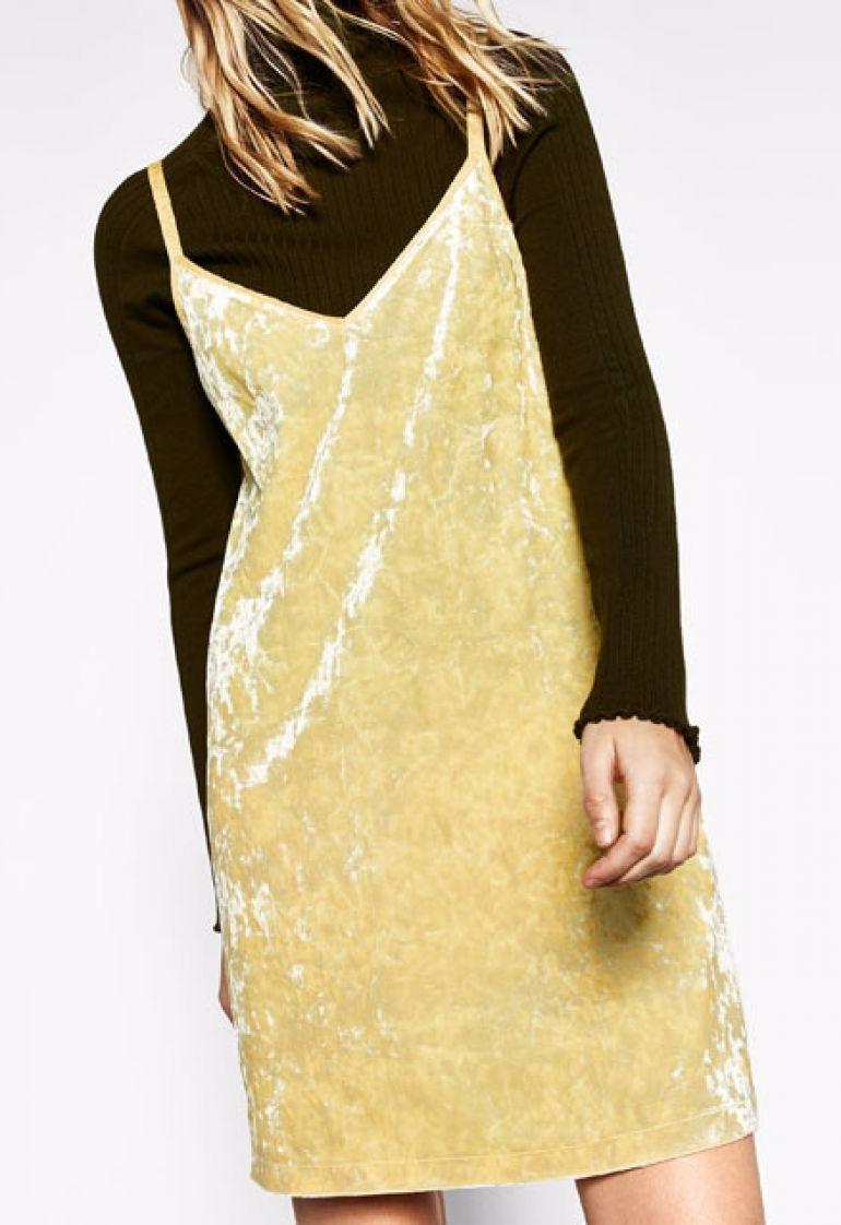 Zara Zoom Terciopelo Cargando Vestido Amarillo qnpdxS 508598723d6