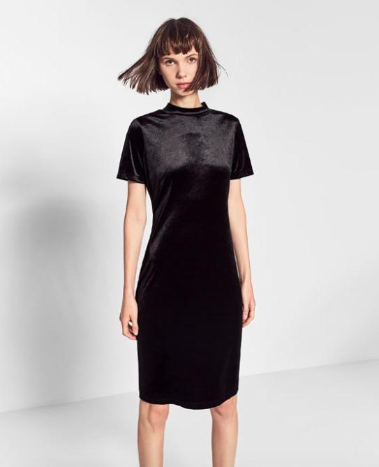 Vestido negro terciopelo zara woman Chicfy