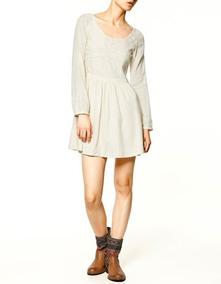 Vestido Zara Trf Beige Bordado M #538
