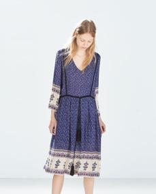 Vestido Zara Trf Estampado Sm #597