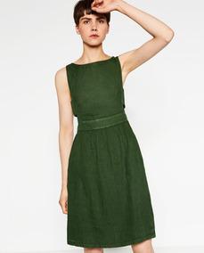Vestido Zara Trf Lino Verde Cut Out G #445