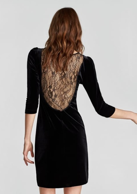 Nueva Colección Cocktail Negro Encaje Xs Zara Velvet Vestido xAqI7I