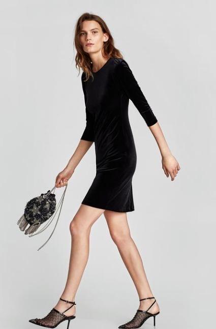 Xs Zara Velvet Cocktail Colección Nueva Negro Vestido Encaje rxECBdeQoW
