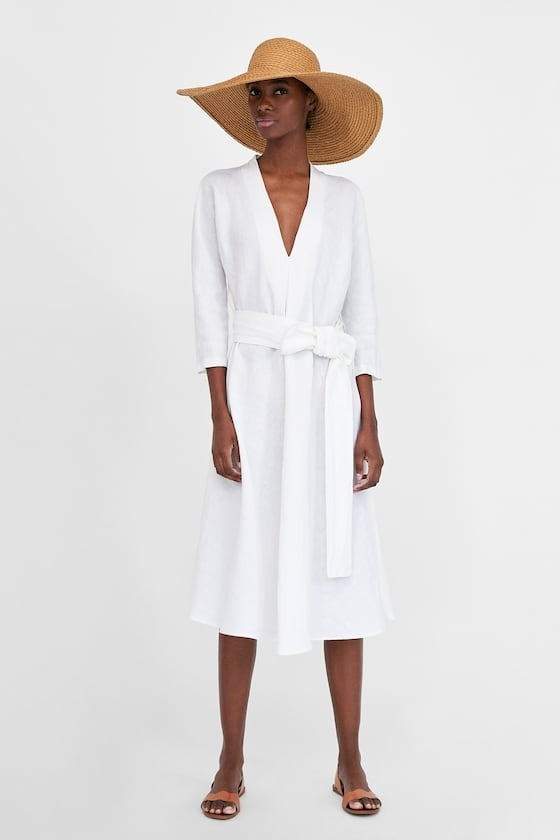 comprar auténtico últimas tendencias de 2019 brillante n color Vestido Zara Woman Lino Blanco Midi M #713