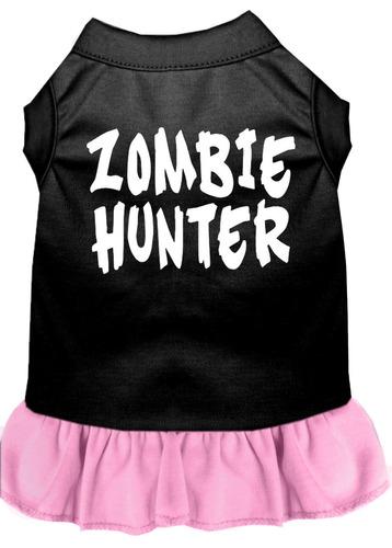 vestido zombi cazador impresión pantalla negro y rosa luz m