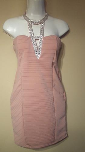 vestidocorto rosa palo con pedrería