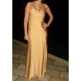 2afc54bad93 Vestido Longo Dourado Lindo Com Echarpe!