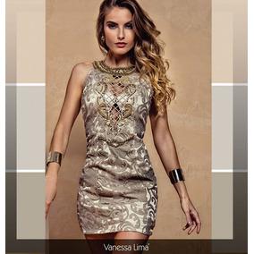 650d5fe65f Vestido De Curto Festa Bordado Tule Vanessa Lima! Bronze!