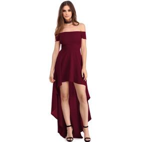 d6de9b77c4 Sexy Vestido Strapless Vino Asimetrico Largo Elegante 61437
