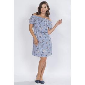 87c713bd1abb3 Vestidos Cortos Casuales Azul Juveniles Moda Rayitas S81109