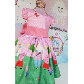 96ab1e569 Vestido Peppa Pig De Luxo - Vestidos Meninas De Festa Rosa no ...