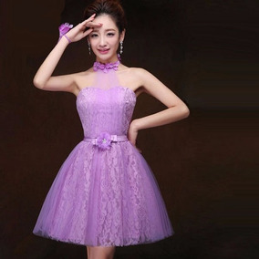 854466c9da Vestido De Fiesta Juvenil Color Morado Strapless - Vestidos de Mujer ...