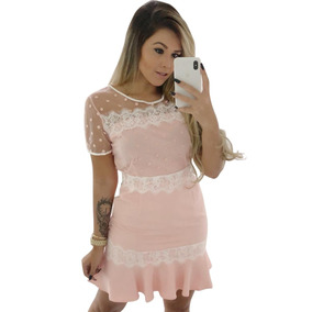 f4fe8fe50 Vestido De Renda Importado Rosa - Vestidos Femininas no Mercado ...