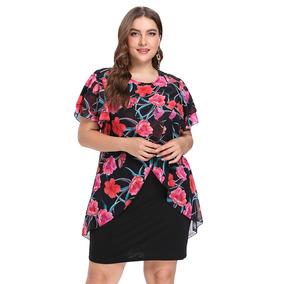 fb16c5be94 De Moda Ronda Collar Floral Capas Mujeres Bodycon Vestido · Ronda Collar  Floral Impresión Gasa Más Tamaño Vestido