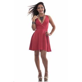 db70d2dc46 Vestido Em Crepe Curto - Vestidos Curtos Femininas Coral no Mercado ...
