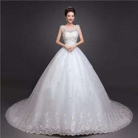 8451f620e Vestido Novia Económico Cort Princesa Cola Majestuosa Flores