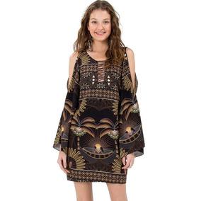 5032d4a7a Vestido Curto Lenão Est. Areia Lenço Farm - Vestidos Femininas no ...